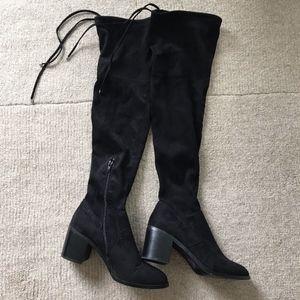 Vegan Suede Block Heel Over the Knee Boots